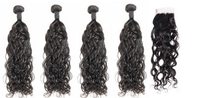 4 Natural Wave Bundles & Closure ( Industry Standard Collection)