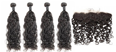 4 Natural Wave Bundles & Frontal ( Industry Standard Collection)