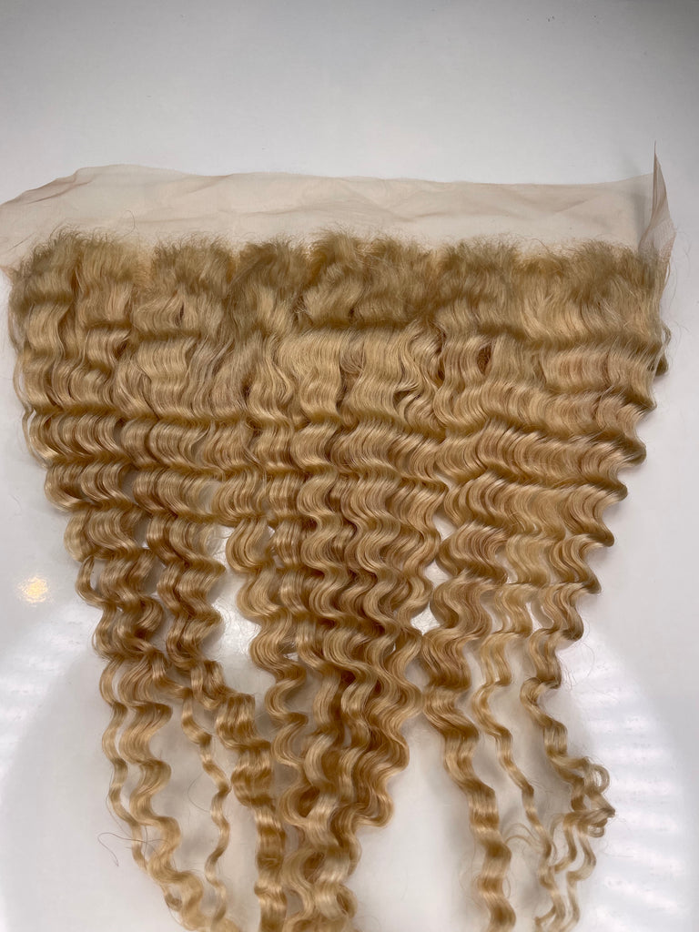 Blonde 13x4 Deepwave 18 Inch Transparent Lace Frontal