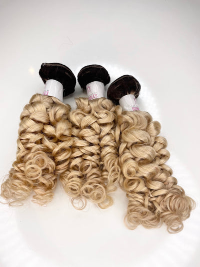3 Loose Curly Bundles Custom Colored 613 Bundles with 1B Roots 22-24-26