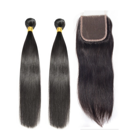 2 Straight Bundles & Closure ( I Am A Queen Collection)