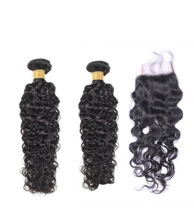 2 Natural Wave Bundles  & Closure ( I Am A Queen Collection)