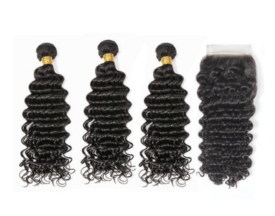 3 Deepwave Bundles & Closure ( I Am A Queen Collection)