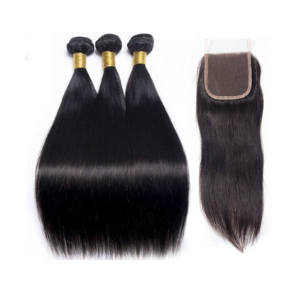 3 Straight Bundles & Closure ( I Am A Queen Collection)