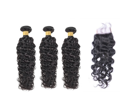 3 Natural Wave Bundles & Closure ( I Am A Queen Collection)