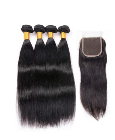 4 Straight Bundles & Closure ( I Am A Queen Collection)