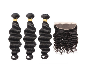 3 Loose Deepwave Bundles & Frontal ( I Am A Queen Collection )