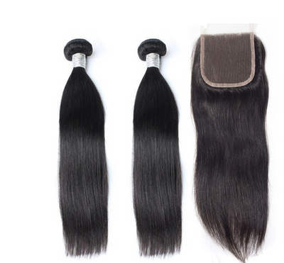 2 Straight Bundles & Closure ( Goddess Collection)