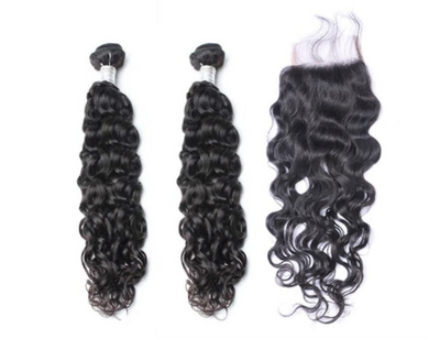 2 Natural Wave Bundles & Closure ( Goddess Collection)