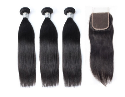 3 Straight Bundles & Closure ( Goddess Collection)