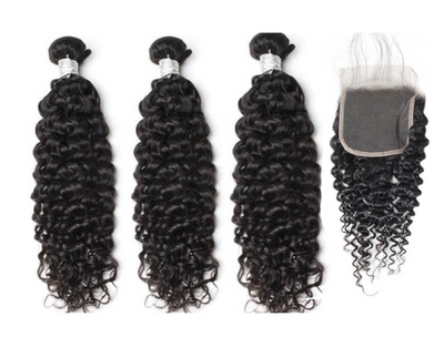 3 Curly Bundles & Closure ( Goddess Collection)
