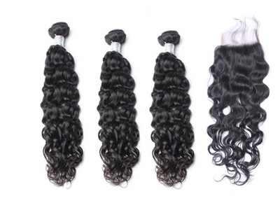 3 Natural Wave Bundles & Closure ( Goddess Collection)