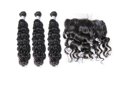 3 Natural Wave Bundles & Frontal ( Goddess Collection )