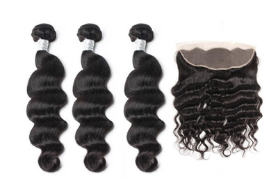 3 Loose Deepwave Bundles & Frontal ( Goddess Collection )