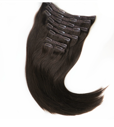 Natural Off Black (1B) Ribbon Weft Clip In Extensions