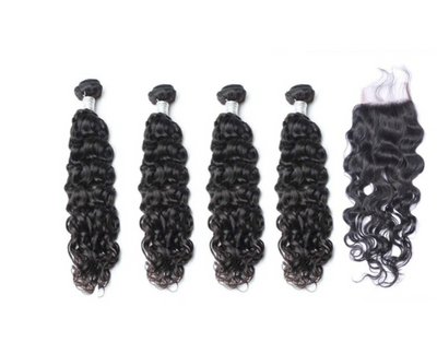 4 Natural Wave Bundles & Closure ( Goddess Collection)