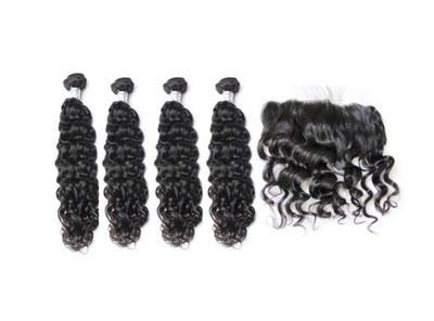 4 Natural Wave Bundles & Frontal ( Goddess Collection)
