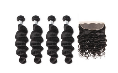 4 Loose Deepwave Bundles & Frontal ( Goddess Collection)