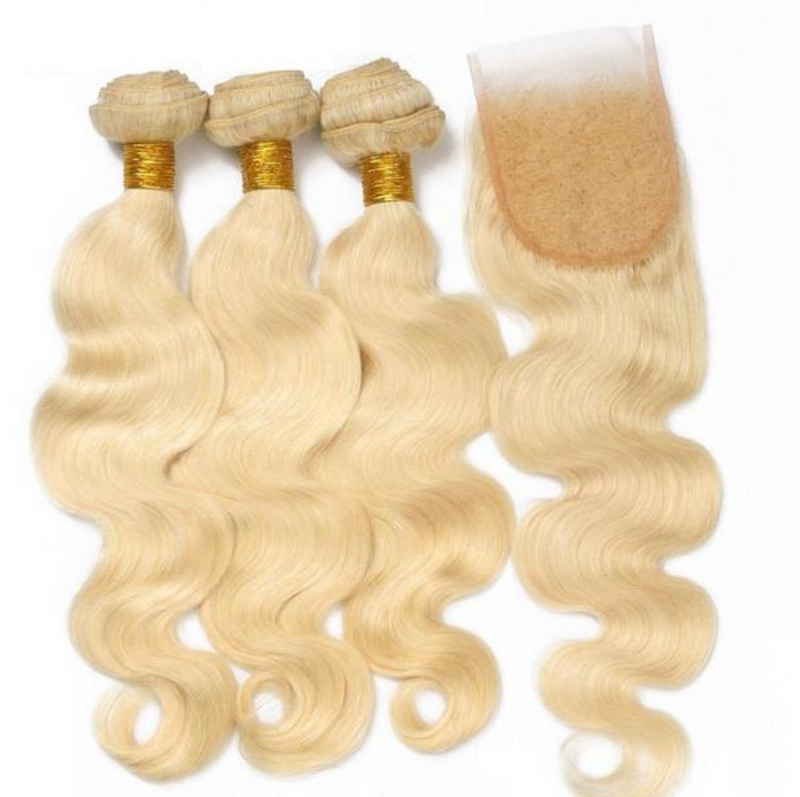 3 Platinum Blonde Bundles + Closure $250
