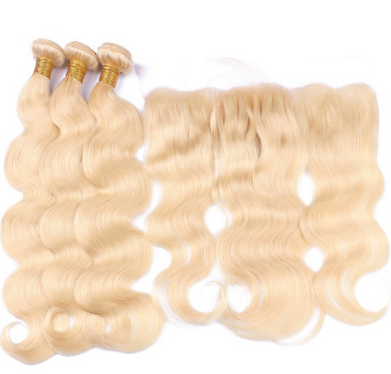 3 Platinum Blonde Bundles with + Frontal  $275