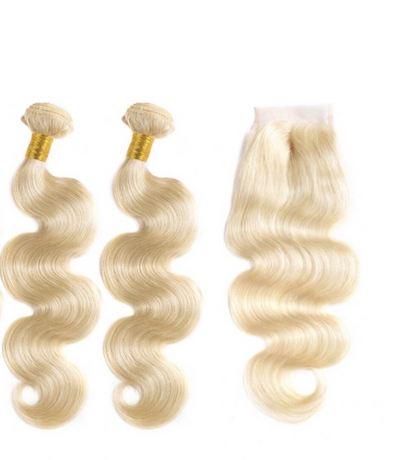 Bodywave Hair 2 Blonde Bundles Closure
