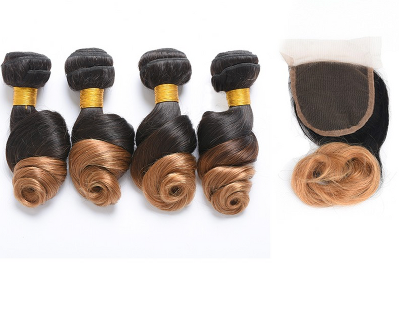 4 Bundles Any Ombre/Color with Closure For $300