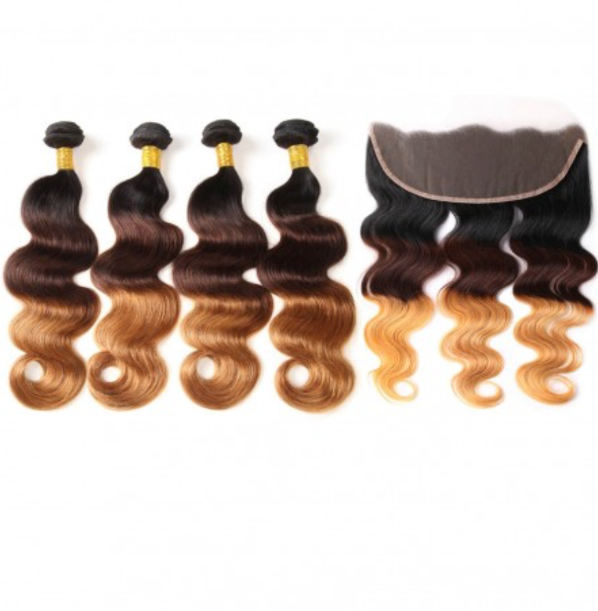 4 Bundles Any Ombre/Color with Frontal