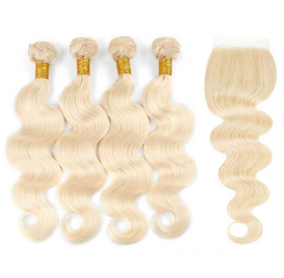4 Platinum Blonde Bundles + Closure
