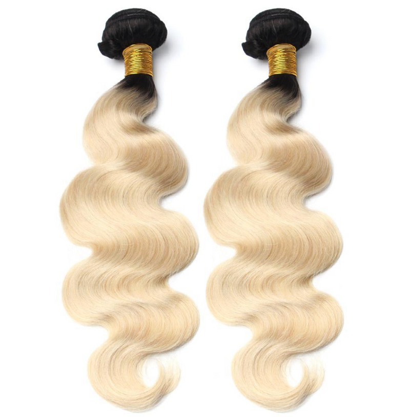 Bodywave Hair 2 Blonde Bundles with 1B At Roots
