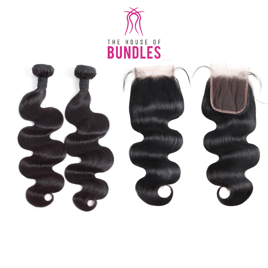 Bodywave Hair 2 Bundles & Standard Lace Closure ( Industry Standard Collection )