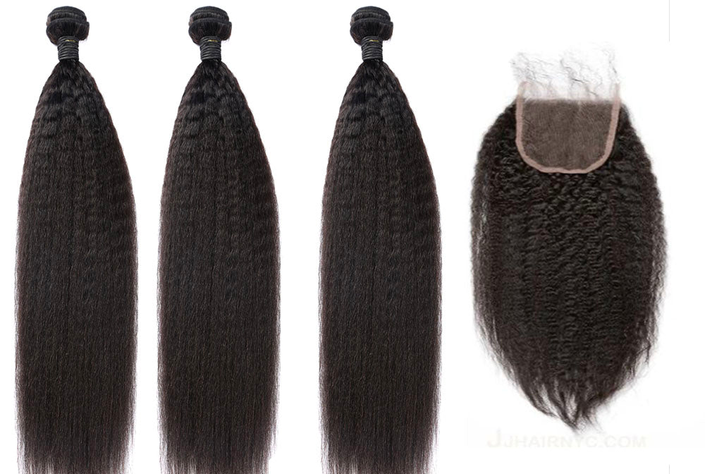 3 Kinky Straight Bundles & Closure ( Industry Standard Collection)