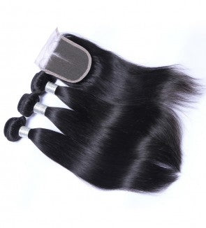 Straight Hair 3 Bundles & Closure ( Goddess Collection )