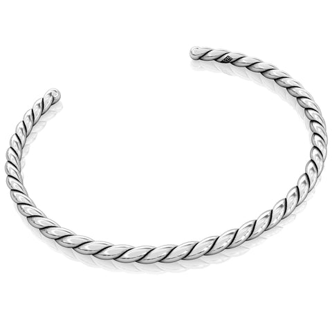 Cuff Bangle Charm Bracelet - Twisted Silver Style - Bella Fascini fits Pandora
