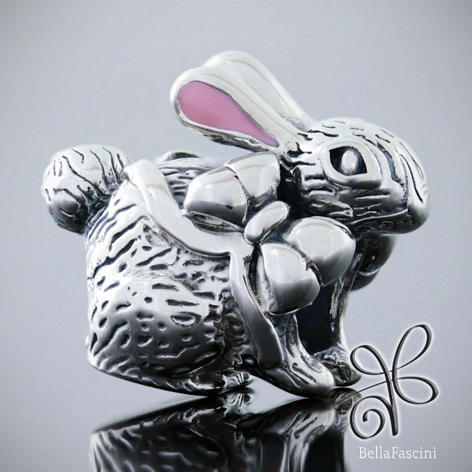 Easter Bunny Rabbit - Luxe Color™ Enamel Bead Charm - Pink Ears - Bella Fascini fits Pandora