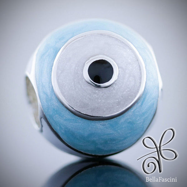 Evil Eye of Protection Symbol Luxe Color™ Enamel Bead Charm - Bright Eye Blue - Bella Fascini fits Pandora