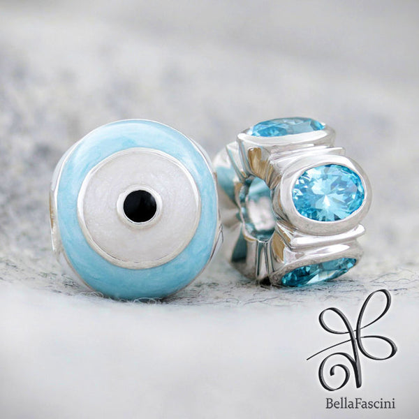 Evil Eye of Protection Symbol Luxe Color™ Enamel Bead Charm - Watchful Eye Blue - Bella Fascini fits Pandora