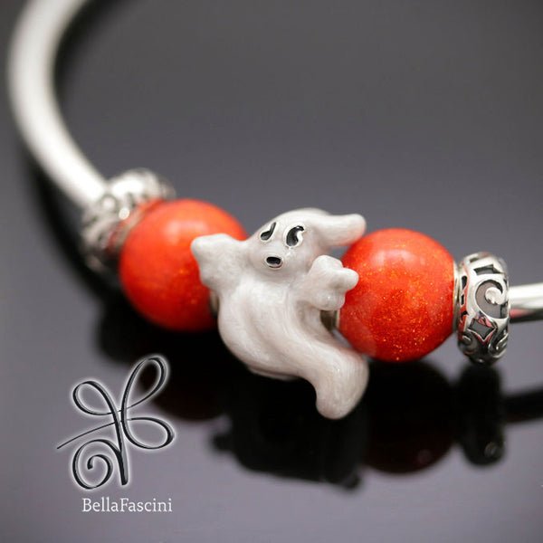 Halloween Haunting Ghost Luxe Color™ Enamel Bead Charm - Mist Boo - Bella Fascini fits Pandora