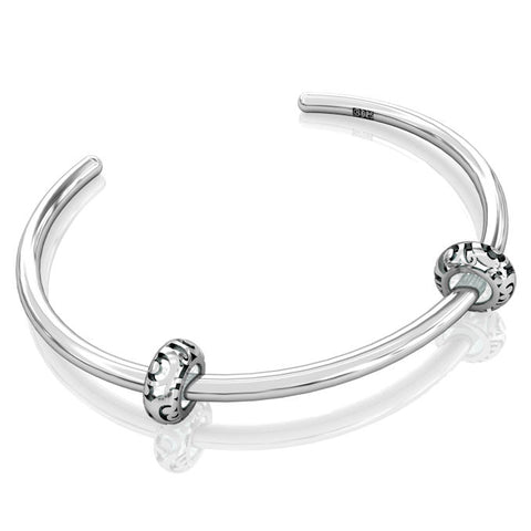 Cuff Bangle Charm Bracelet - Smooth Silver #11 - Bella Fascini fits Pandora