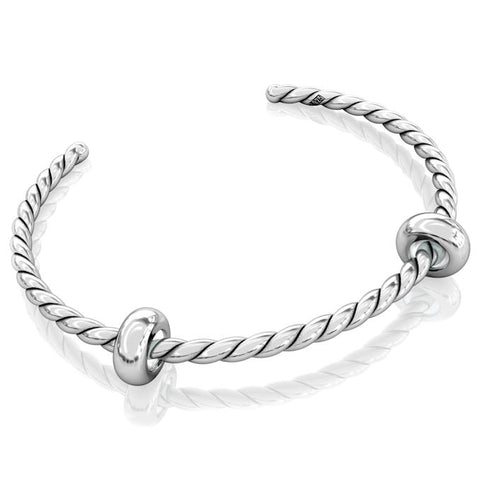 Cuff Bangle Charm Bracelet - Twisted Silver #11 - Bella Fascini fits Pandora