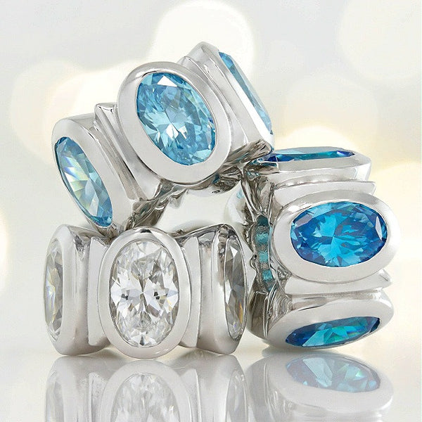 Oval CZ Lights Bead Charm - Dark Aqua Blue - Bella Fascini fits Pandora