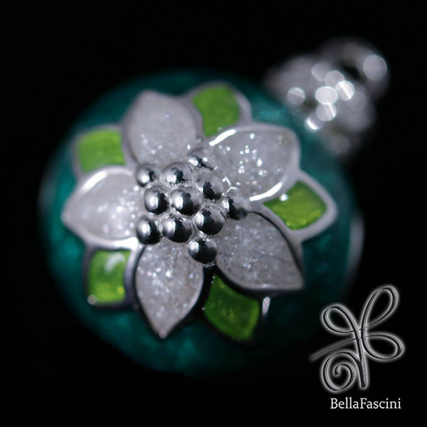 Poinsettia Christmas Tree Ornament Luxe Color™ Enamel Bead Charm - Emerald Green - Bella Fascini fits Pandora