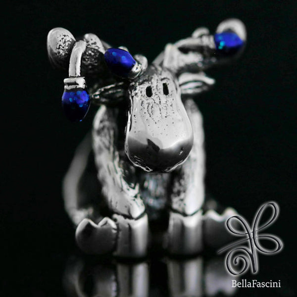 Christmas Moose String of Lights Luxe Color™ Enamel Bead Charm - Twinkle Blue - Bella Fascini fits Pandora