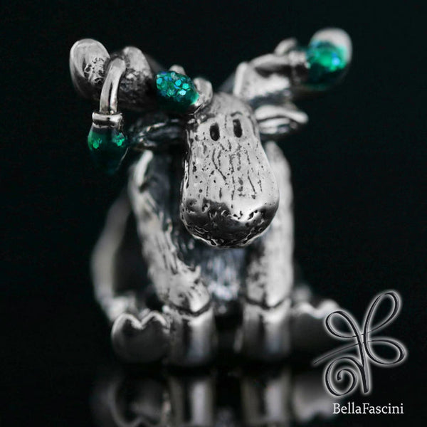 Christmas Moose String of Lights Luxe Color™ Enamel Bead Charm - Emerald Green - Bella Fascini fits Pandora