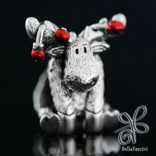 Christmas Moose String of Lights Luxe Color™ Enamel Bead Charm - Candy Apple Red - Bella Fascini fits Pandora
