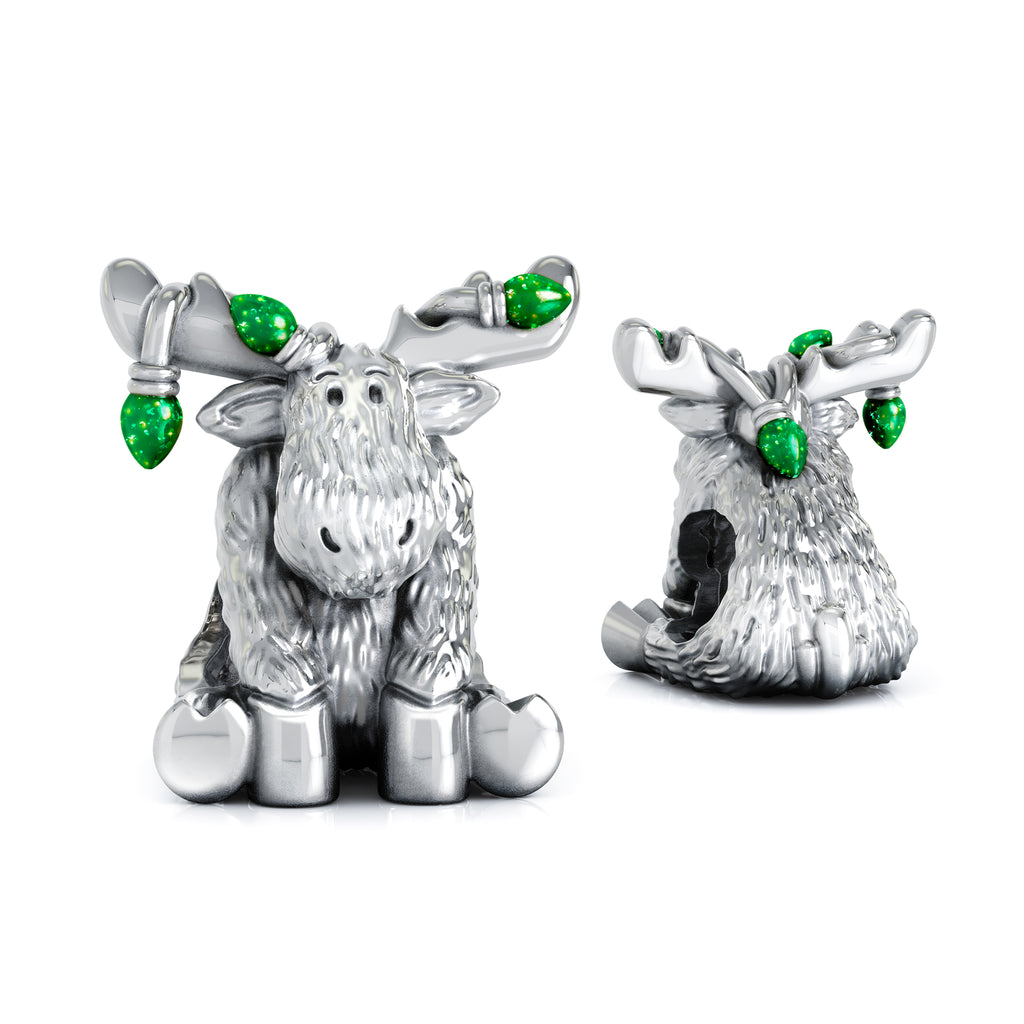 Christmas Moose String of Lights Luxe Color™ Enamel Bead Charm - Emerald Green