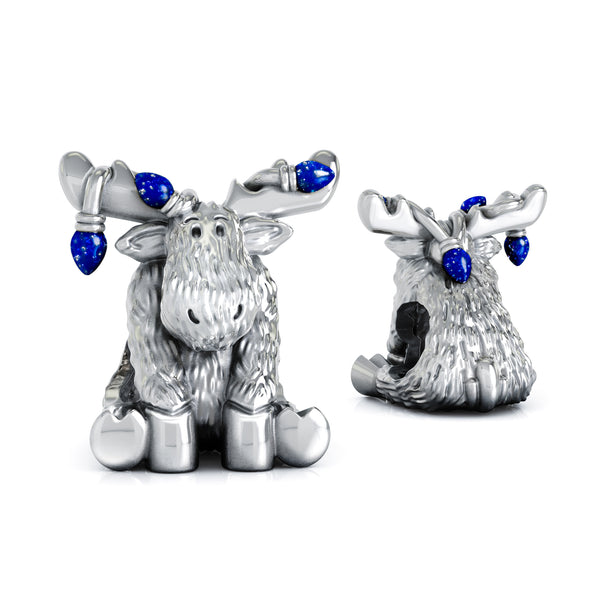 Christmas Moose String of Lights Luxe Color™ Enamel Bead Charm - Twinkle Blue