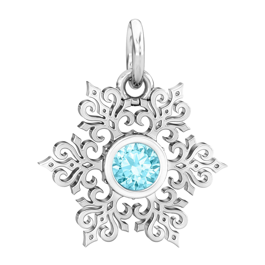 Its Cold Outside Winter Snowflake CZ Dangle Bead Charm - Aqua Blue - Bella Fascini fits Pandora