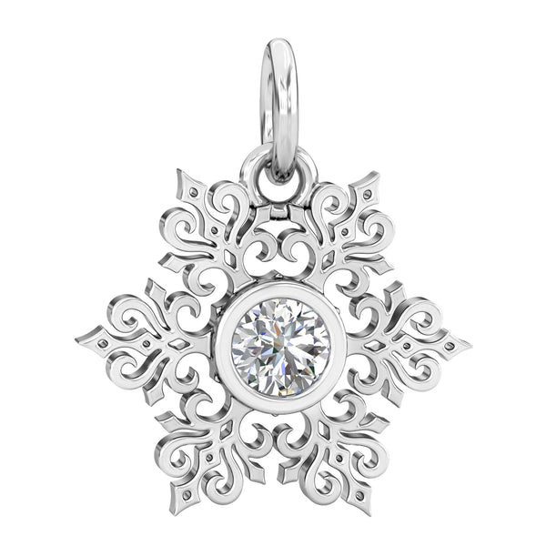 Its Cold Outside Winter Snowflake CZ Dangle Bead Charm - Clear - Bella Fascini fits Pandora