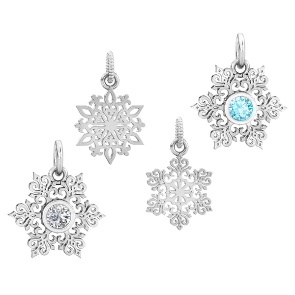 Bella Fascini Great Lakes Boutique fits Pandora style charm beads bracelets cuff silver snowflake snow winter Christmas dangle cz gift
