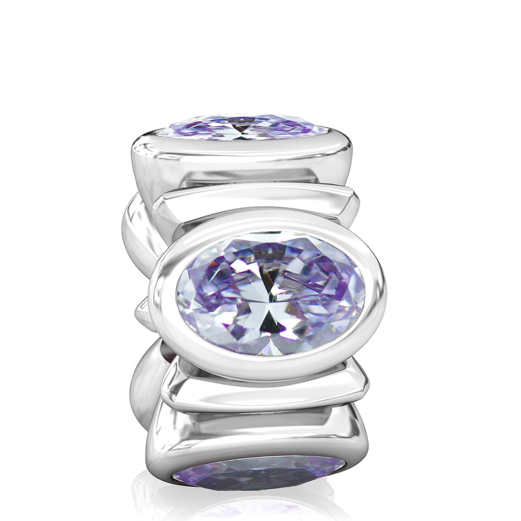 Oval CZ Lights Bead Charm - Amethyst Purple - Bella Fascini fits Pandora